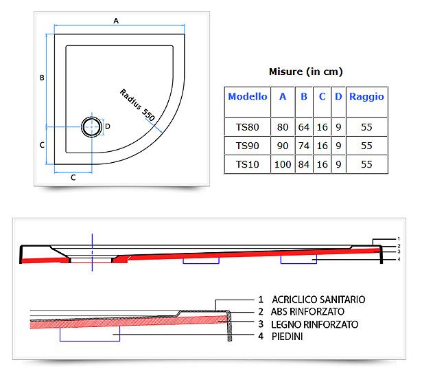 Piatto Doccia Semicircolare Angolare Ultraflat in acrilico sanitario - Misure: 80x80 - 90x90 ...