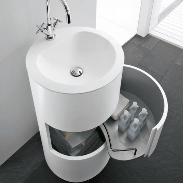 Mobile da Bagno MOON Free Standing con Lavabo in Corian® Bianco Opaco