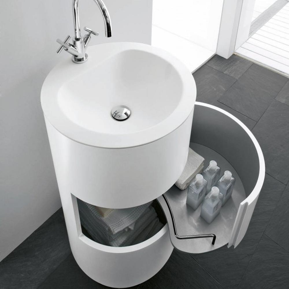 Lavello Bagno Da Appoggio mobile da bagno moon free standing con lavabo in corian® bianco opaco