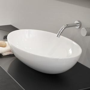 Lavabo Design SHELL da Appoggio in Ceramica Bianco Lucido