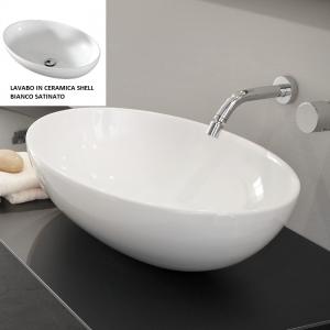 Lavabo Design SHELL da Appoggio in Ceramica Bianco Satinato