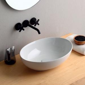 Lavabo Design MINI SHELL da Appoggio in Ceramica Bianco Lucido