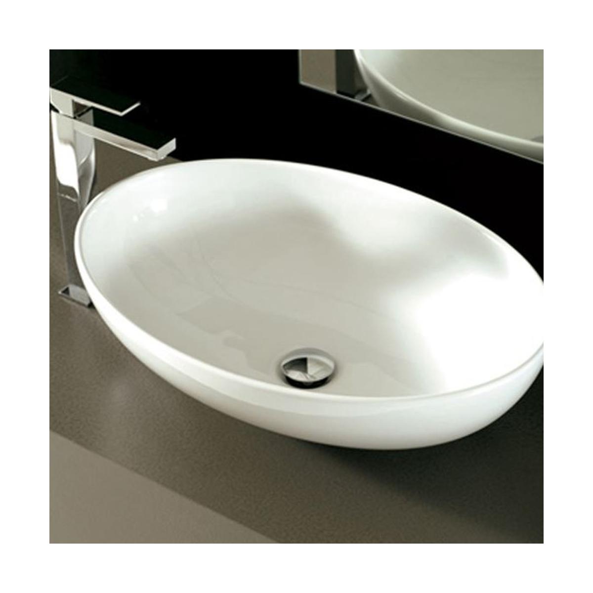 Lavabo Design Mini Shell Da Appoggio In Ceramica Bianco Satinato