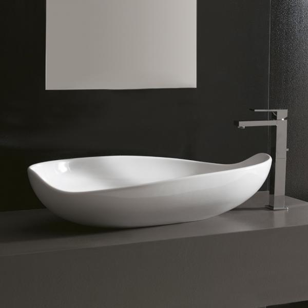 Lavabo Design MIYUKI da Appoggio in Ceramica Bianco Lucido