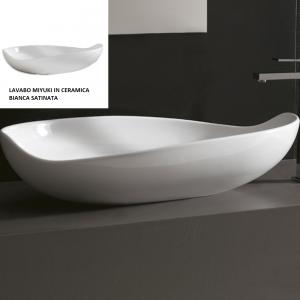 Lavabo Design MIYUKI da Appoggio in Ceramica Bianco Satinato