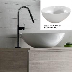 Lavabo Design POT da Appoggio in Ceramica Bianco Satinato