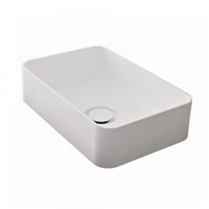 Lavabo Design AGORA' da Appoggio in Mineral Solid Bianco Opaco