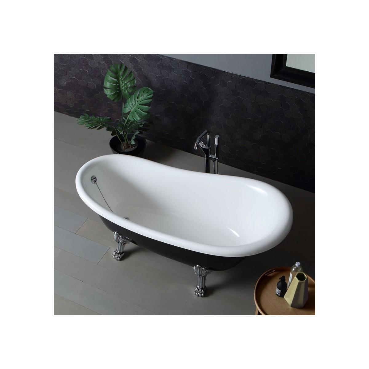Vasca da bagno nera in stile retr con piedini cleopatra 167cm - Rubinetteria bagno nera ...