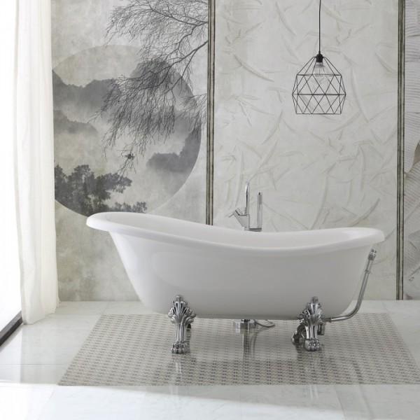 Vasca da bagno stile retr con piedini modello regina 167cm - Vasche da bagno con piedini ...
