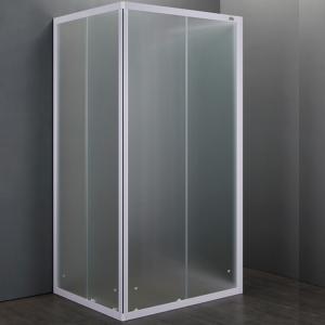 Box Doccia Quadrato o Rettangolare a Tre Lati con Cristalli 4mm Satinati | White