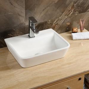 Lavabo LUNA Sospeso o da Appoggio in Ceramica Bianca dimensione 45x35 h13cm