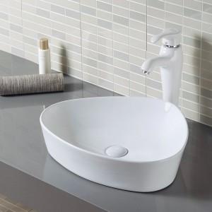Lavabo SALERNO da appoggio in Ceramica Bianca - Forma a Goccia