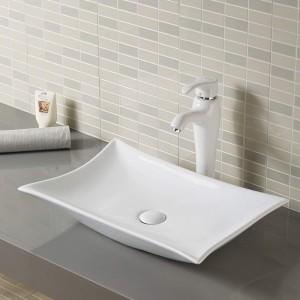 Lavabo TORINO da appoggio in Ceramica Bianca 57.5x38x12
