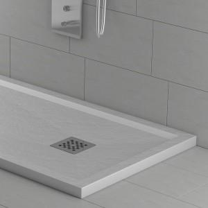 Piatto doccia mineralmarmo con bordo alto effetto pietra bianco | Quarzo