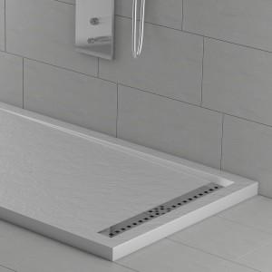 Piatto doccia mineralmarmo griglia laterale bianco effetto pietra | Topazio