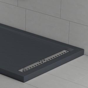Piatto doccia mineralmarmo effetto pietra antracite con griglia laterale | Topazio