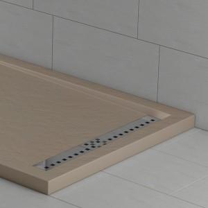 Piatto doccia mineralmarmo effetto pietra arena con griglia laterale | Topazio