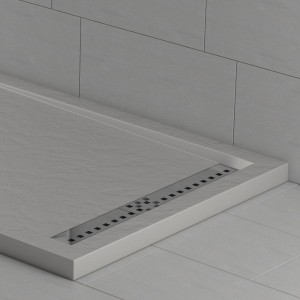 Piatto doccia mineralmarmo effetto pietra cemento con griglia laterale | Topazio