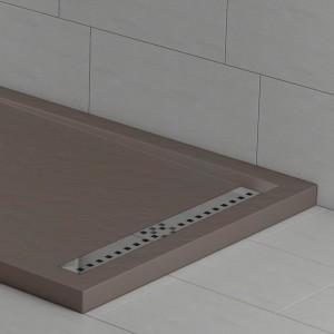 Piatto doccia mineralmarmo effetto pietra moka con griglia laterale | Topazio