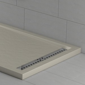 Piatto doccia mineralmarmo effetto pietra crema con griglia laterale | Topazio