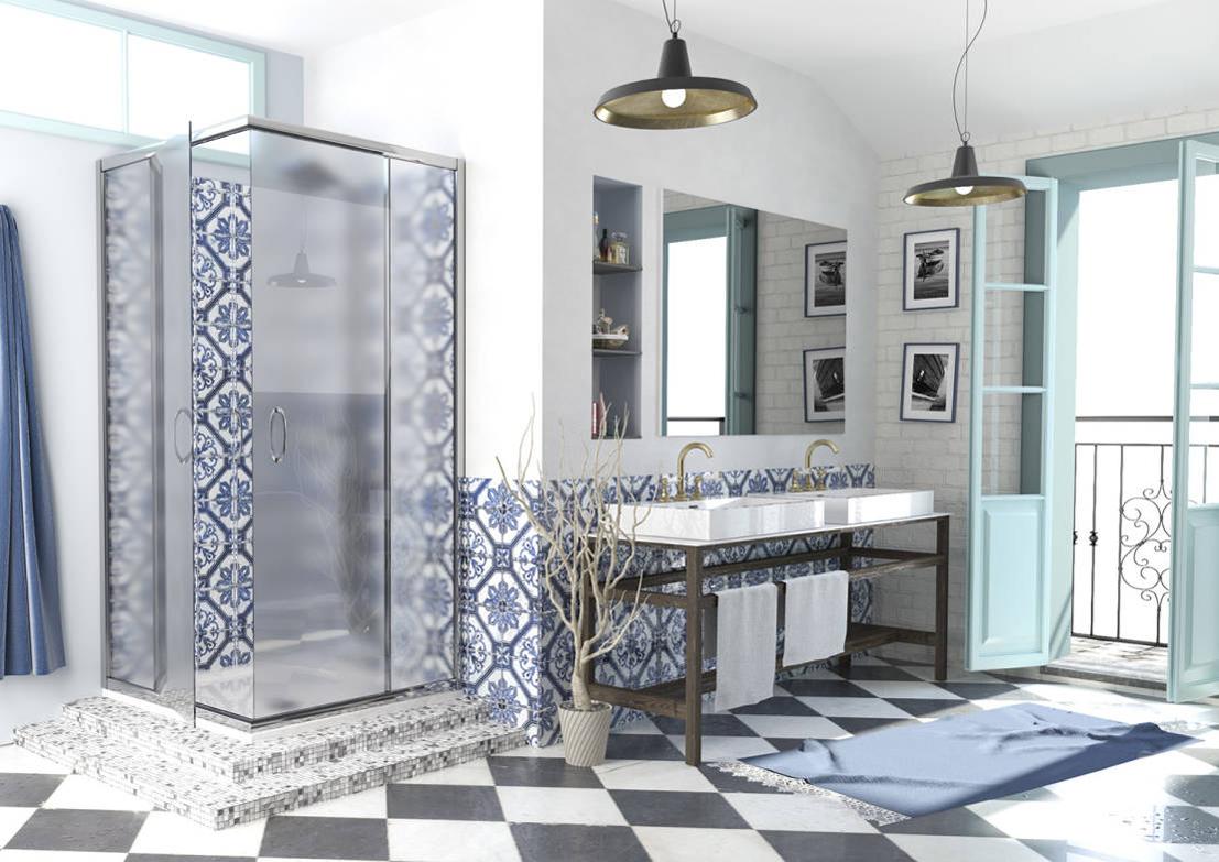 Arredamento da Bagno con ceramiche decorate sui toni del blu