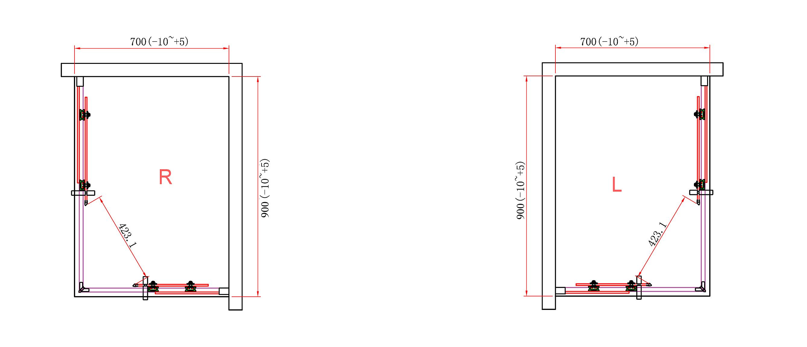 Schema apertura Porta Box Doccia Perla 70x90