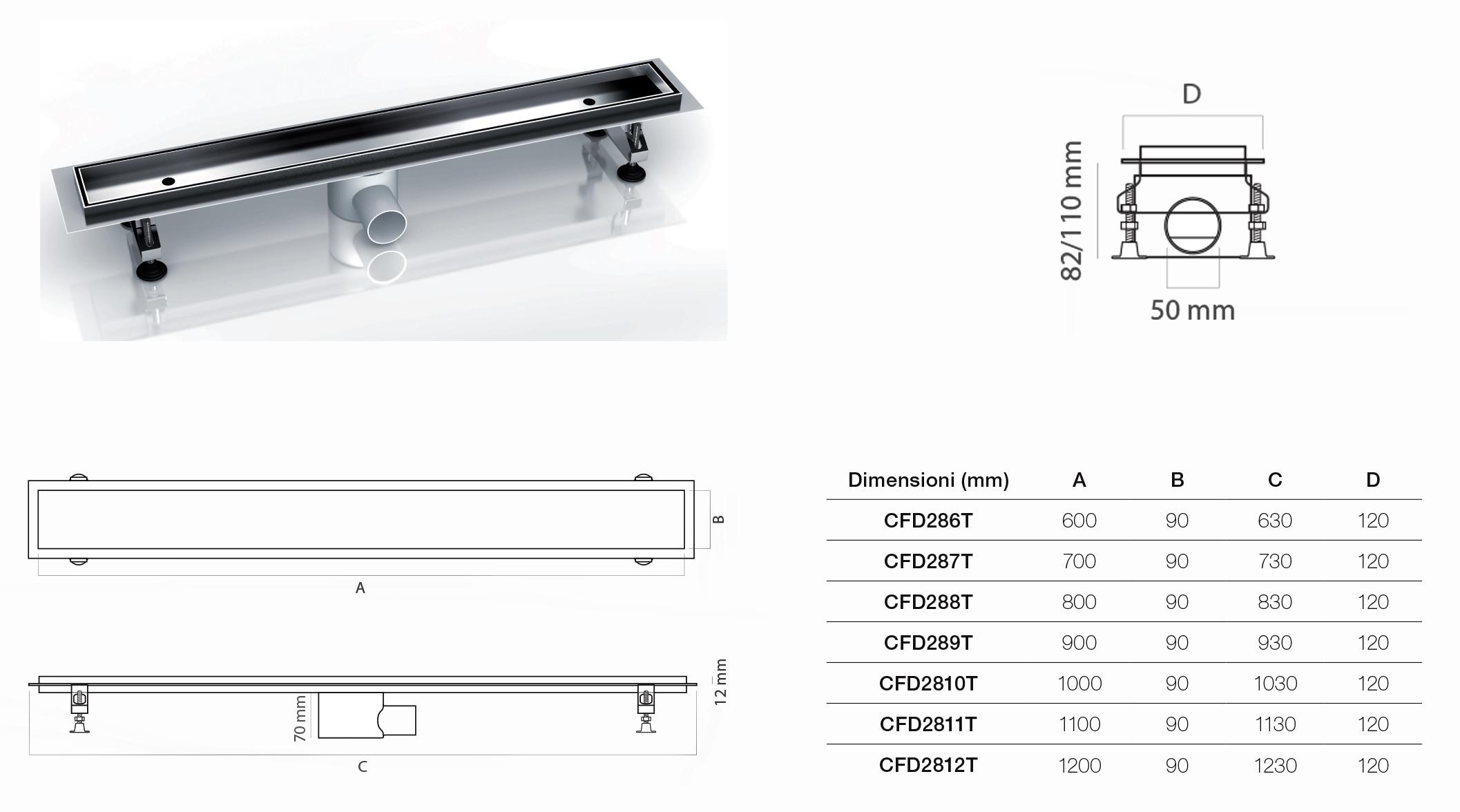 Canalina di scarico piastrellabile acciaio inox 60x9x9 5 70x9x9 5 80x9x9 5 90x9x9 5 - Piatto doccia piastrellabile ...